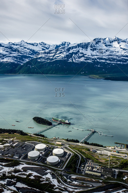 Oil tanker harbor in Valdez, Alaska, USA