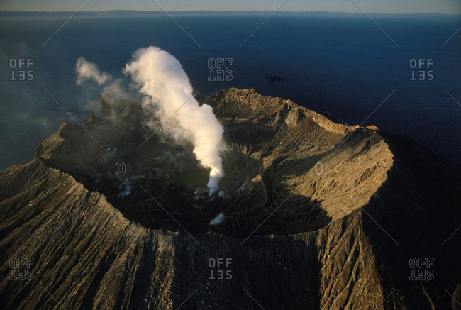 Aerial view of an active volcano in White Island, New Zealand