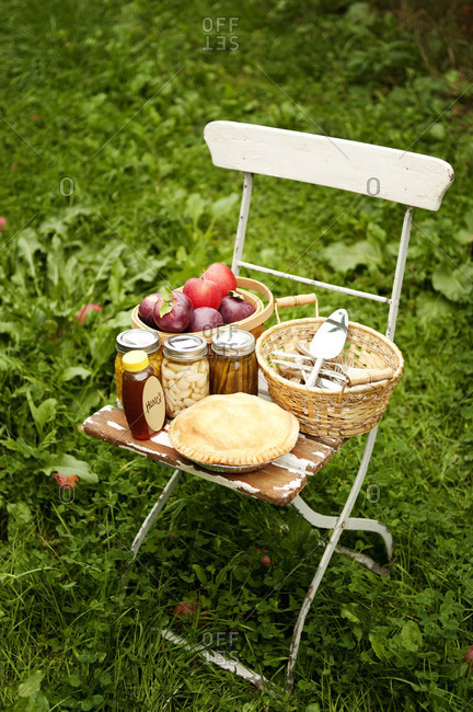Food on chair outdoors in an orchid