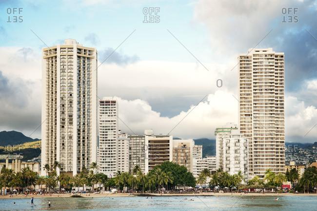 Tropical beachfront buildings
