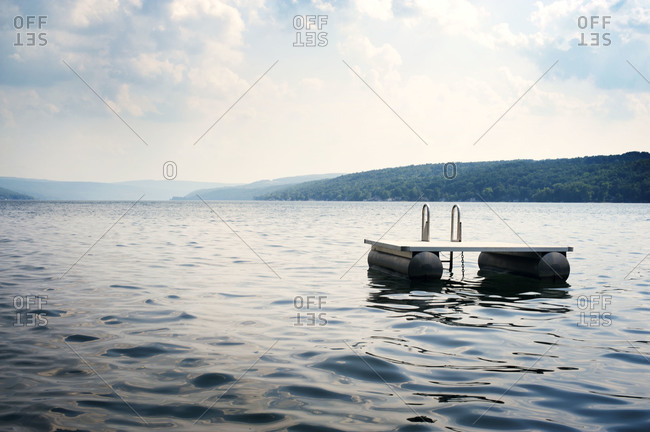 Floating dock on a lake