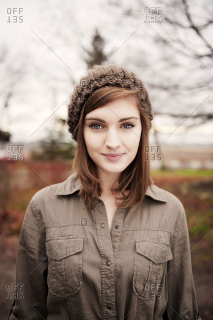 Portrait of teenager wearing a knitted hat