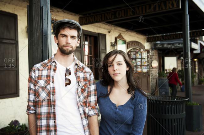 Portrait of couple outside a restaurant