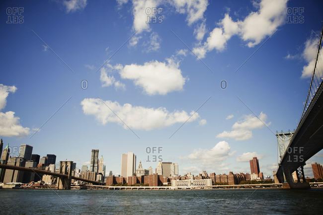 View of Manhattan Between bridges in New York City, USA