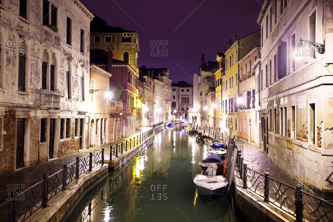 Canal at night in Venice, Italy