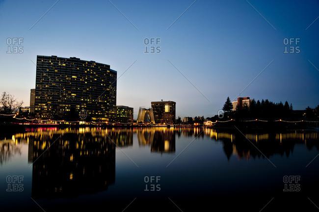 City by the lake at night