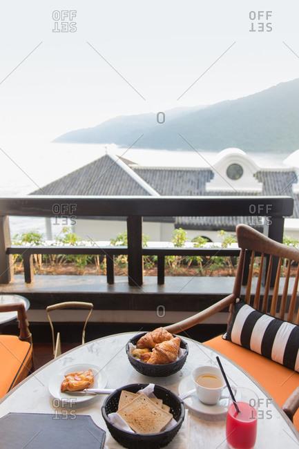 Breakfast pastries on resort balcony