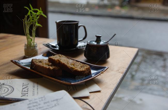 Heavy bread and tea at tropical restaurant