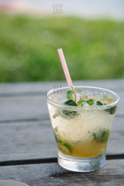 Tropical cocktail on outdoors table
