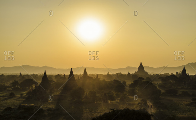 Sunset over the temples of Bagan