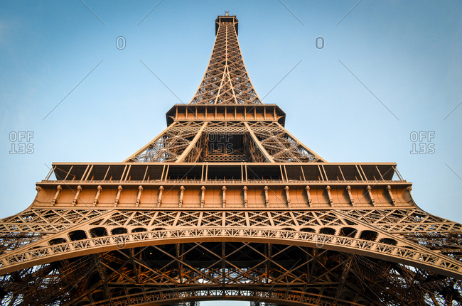 Looking up at the Eiffel Tower in Paris, France