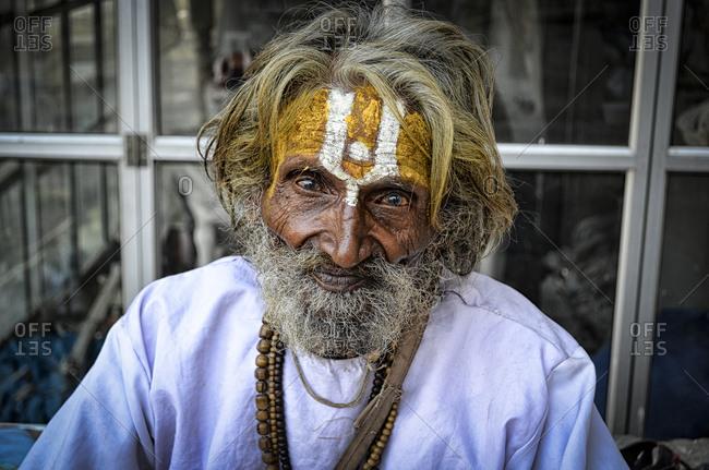 Udaipur, India - November 3, 2014: Indian sadhu (holy man) in Udaipur