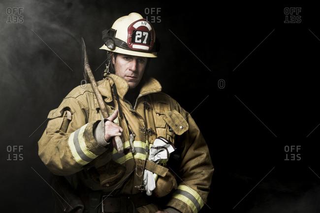 A portrait of a fireman