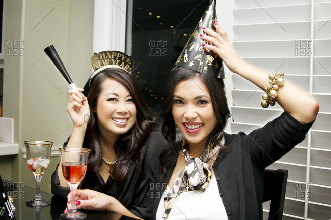Two women celebrate the new year