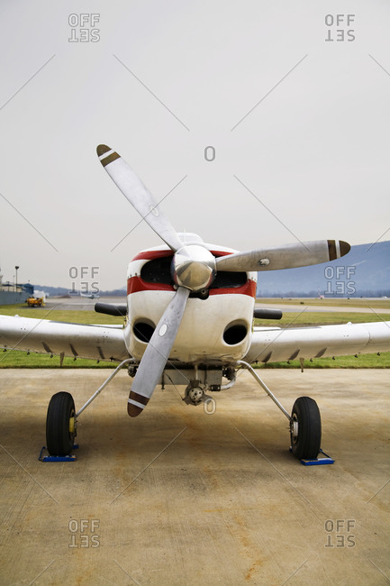 A small airplane on tarmac
