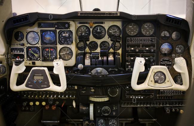 Interior of an airplane cockpit under repair