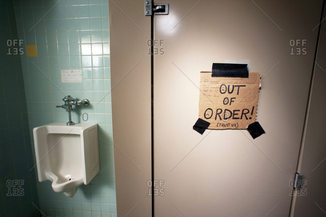 An out of order bathroom stall
