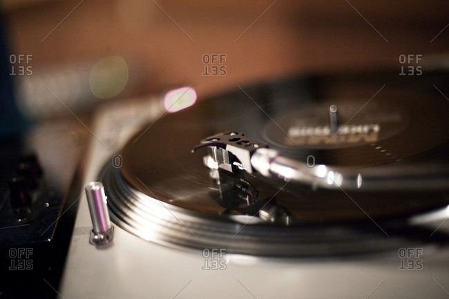 Close up of a record needle