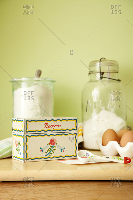Recipe box and baking supplies