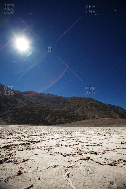 Landscape of mountain in desert at night