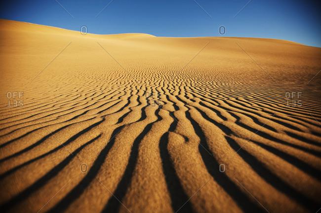 Sand dune on desert horizon