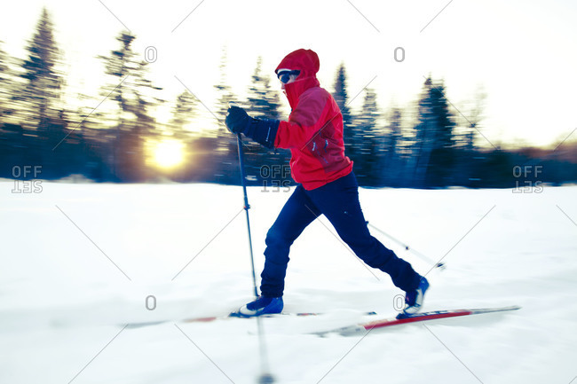 Cross country skier on trail