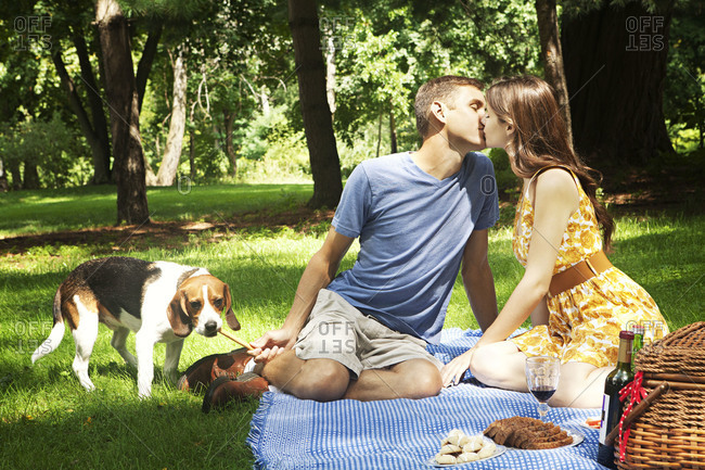 Couple kissing while on a picnic