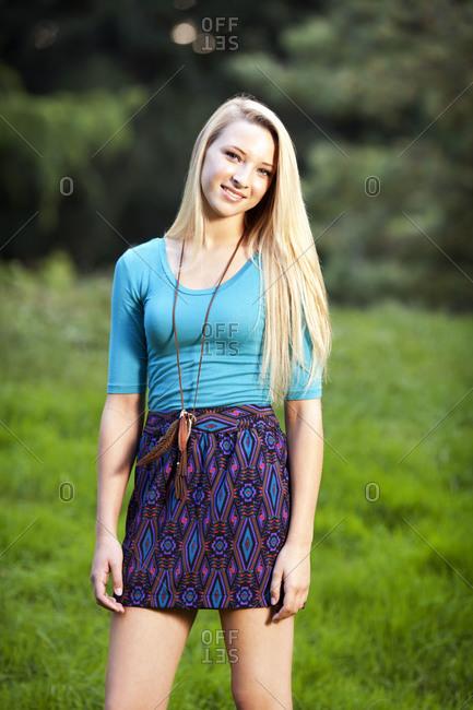Portrait of adolescent girl outdoors