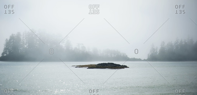 Small island with fog in British Columbia