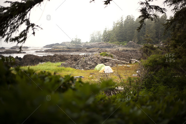 Two tents in British Columbia wilderness