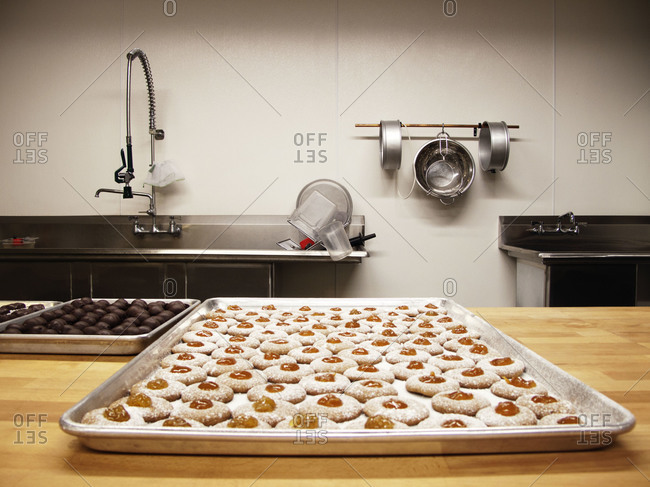 Cookies on tray in kitchen