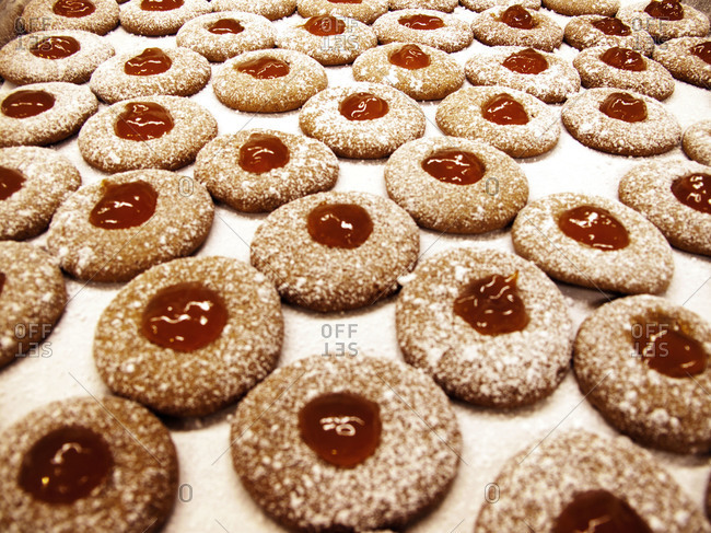 Close up of cookies with jam center