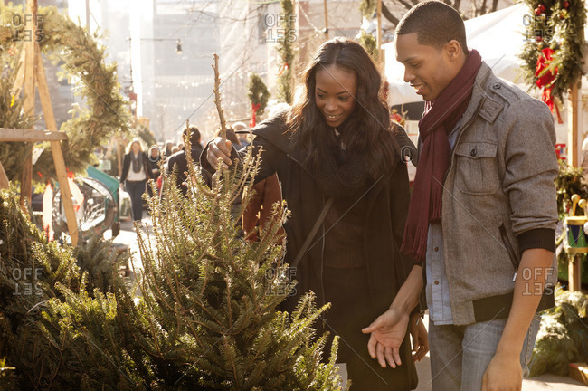 Young city couple picking out Christmas tree