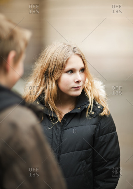 Portrait of teenage girl with blonde hair
