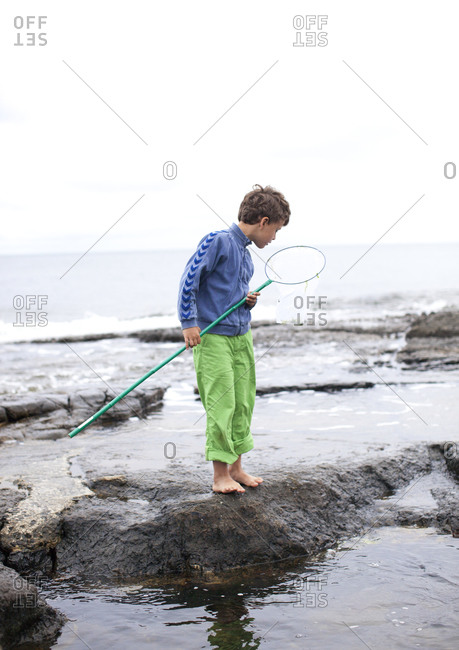 Boy holding a fishnet on the shore
