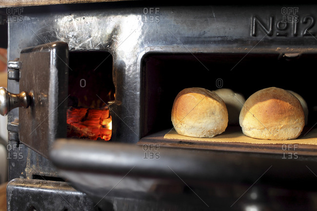 Freshly baked breads in an oven