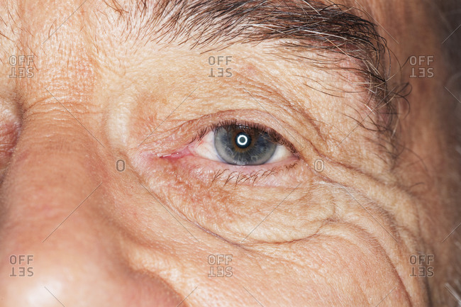 Close up of an elderly man's eye