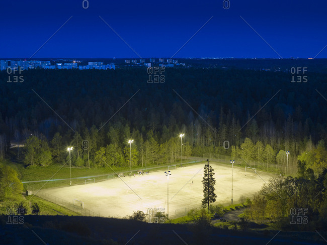Soccer field at night in Stockholm, Sweden