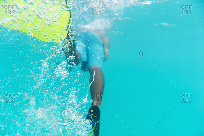 Man diving in the ocean