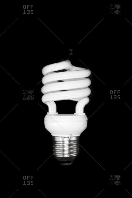 Studio shot of compact fluorescent bulb