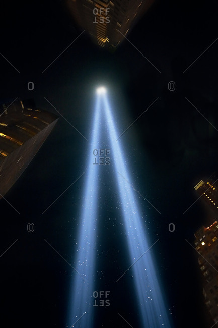 World Trade Center light memorial in New York City, USA