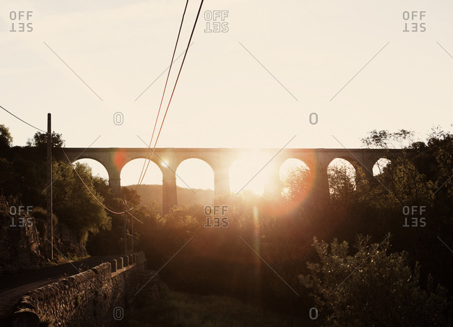 Viaduct at sunset in France