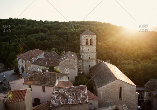 French village at sunrise