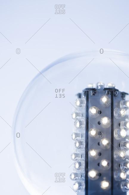 Studio shot of illuminated light bulbs