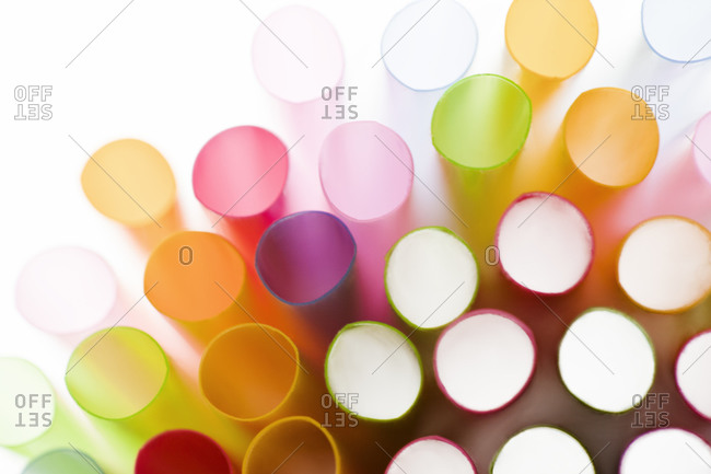 Studio shot of colorful drinking straws