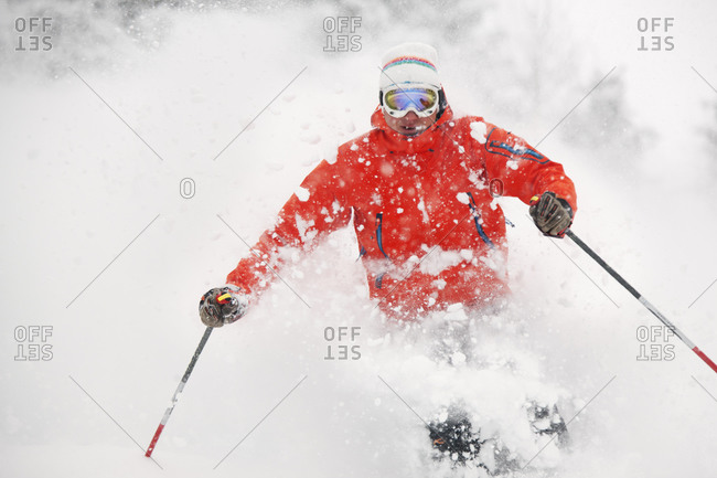 Man downhill skiing in the French Alps