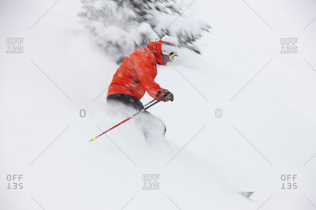 Man skiing in the French Alps