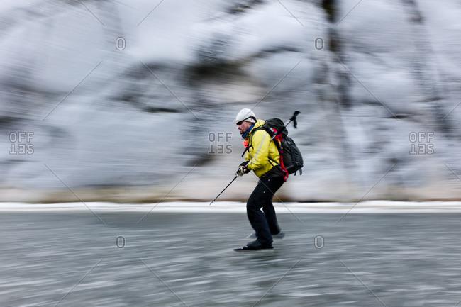Man ice-skating in Sweden