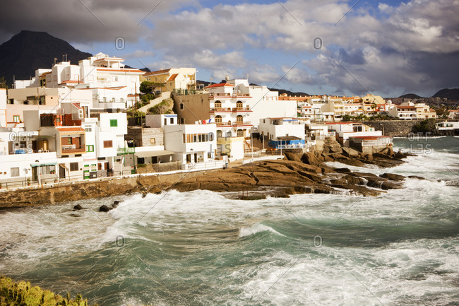 View of a coastal town during storm