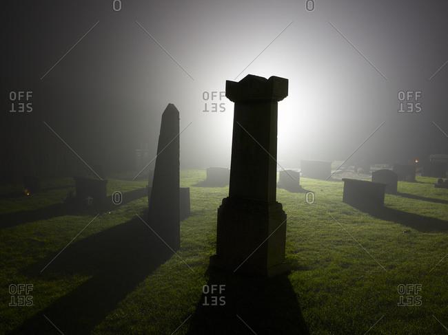 Misty graveyard at night - Offset